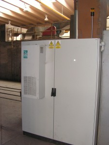 Panel with frequency converters of tunel furnace