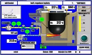 Vizualizace na dotykovém panelu kelímkové pece
